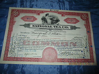 Wertpapier / Aktie  USA  1929 : NATIONAL TEA  Company , historisch / Dokument /H