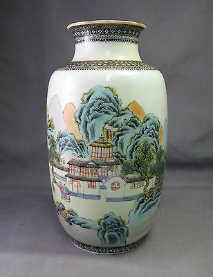 Chinese Republic Period Large Eggshell Mountain Scene Vase - Very Fine Painting