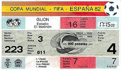ENTRADA TICKET FIFA WORLD CUP SPAIN 1982 CUP West Germany vs Argelia GAME 7