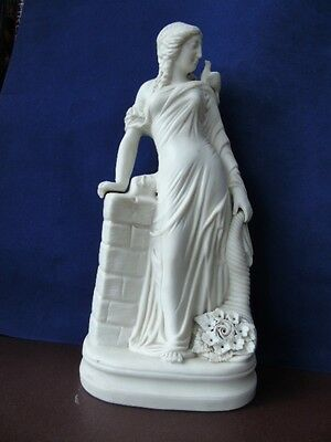 19th c Parian Ware Statuette - Flora Roman Goddess Of Flowers/Spring