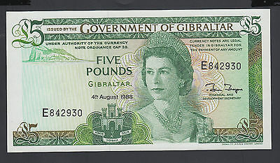 Gibraltar 5 Pounds 04-08-1988 UNC P. 21,  Banknotes, Uncirculated