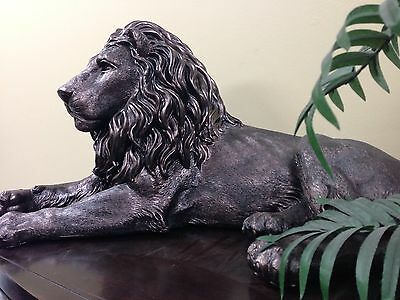 Lion statue large antique bronze finish animal figure  home decor wild Sculpture