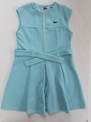 Vintage Chemise Lacoste Alligator Turquoise Sleeveless Tennis Dress Girls Sz 10