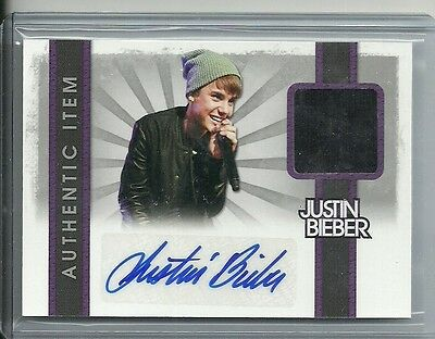 2012 Panini Justin Bieber Trading Card -  Autograph Worn Material Relic Card #3