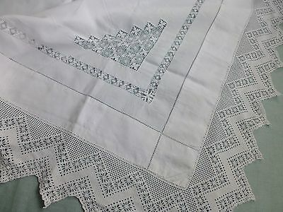 Antq Edwardian Tenerife drawn thread lace tablecloth hand crochet lace edge