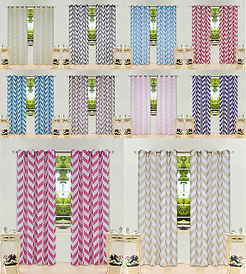 Striped Printed Grommet Voile Sheer Window Curtain Treatment 2Pc Panels C37