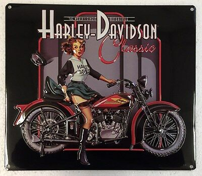 Ande Rooney HARLEY DAVIDSON CLASSIC PIN UP BABE Motorcycle Girl Garage Tin Sign