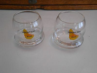 2 Mount Gay Refined Eclipse Barbados Rum Roly Poly / Wobble Glasses, 8 oz.
