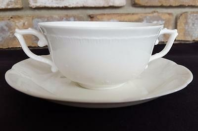 Villeroy & Boch Montclair Weiss 2 Handle Cup and Saucer Bone China Heinrich RARE