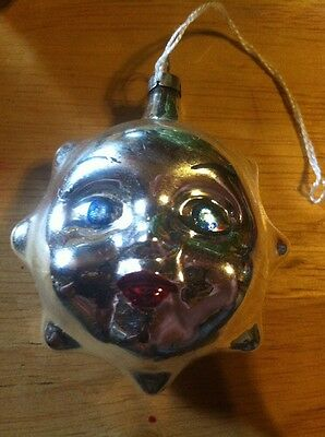 Vintage Face Ornament... Sun Shaped.. Silver In Color Apx 2 Inches