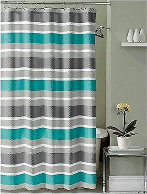 Teal Brown Gray White Fabric Shower Curtain: Striped Design with hooks