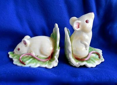 RARE Vintage Ceramic White Mice Mouse Rats Bookends from Italy Breathtaking