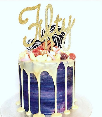 Fifty 50th gold glitter birthday script large cake toppers, party,gold party,
