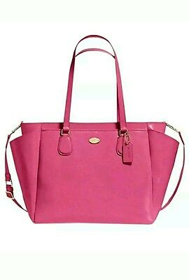 NWT Coach F35702 Crossgrain Leather Baby Diaper Bag Dahlia