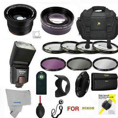 Nikon D3400 / D5600 55mm PRO Accessory Kit - Bag, Lenses, FLASH & Hood Included