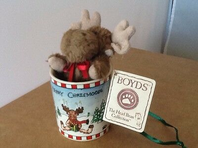 "Boyds Bearware Pottery Works Christmas ornament Cup/Moose 4"" with Tag"
