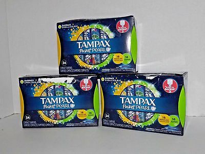 3 Boxes Tampax Pocket Pearl Compact Tampons Regular & New 34 Tampons Each (14)
