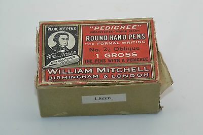 Vintage Old Box William Mitchell Pedigree Pens nº 2 1/2 Oblique 123 Units Free S
