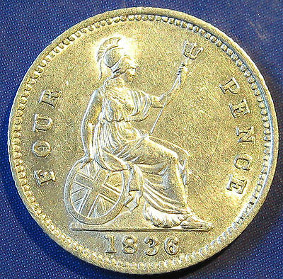 1836 4d William IV silver Groat - close colons in a gorgeous grade