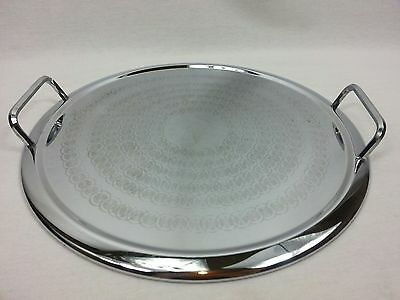 Vintage Art Deco Drinks Tray Round Serving Stainless Steel Chrome Handles Retro