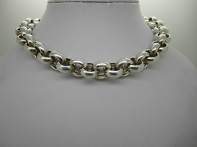 Huge Stunning Solid Silver Chain Link Classic Necklace - Heavy 97.8 G - 16 Inch