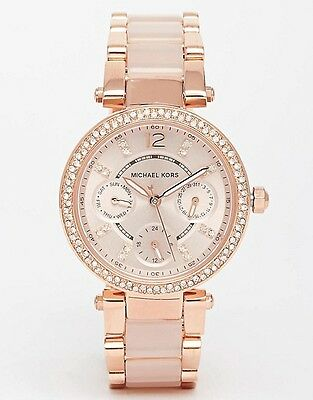 New Michael Kors Mk6110 Rose Gold Blush Crystals Mini Parker Watch -2 Y.warranty