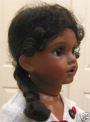 ZOBE Dark Brown DOLL WIG size 11 for ethnic dolls long braid with curly tendrils