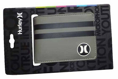"Brand New + Tag Hurley Mens / Boys Tri-Fold Wallet ""block Party"" Grey Black Bnwt"