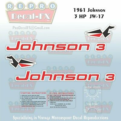 1961 Johnson 3 HP JW-17 Sea Horse Outboard Reproduction 8 Piece Vinyl Decals