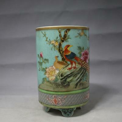 A Beautiful Chinese Famille-Rose Porcelain Tripodia Brush Pot With Bird Pattern
