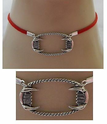 Silver Vampire Fangs Choker Necklace Handmade Adjustable Red Accessories Fashion
