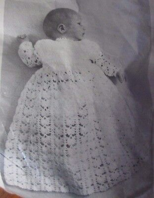 Vintage Mary Maxim Baby Crochet Christening Robe Kit 723 Size for 3 mo to 1 yr