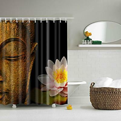Waterproof Fabric Curtain Bathroom Shower Divider Scarf Hooks Buddha Lotus