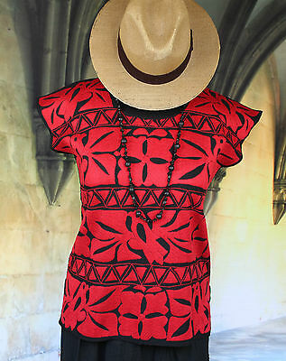 Hand Embroidered Huipil / Blouse Red & Black Birds, Jalapa Mexico Hippie Boho