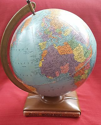 "Vintage 1954 Replogle 12"" Reference Globe with Atlas – used"