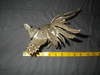 "Vintage  Brass Fighting Cock Rooster 8"" steampunk industrial Cast Unusual"