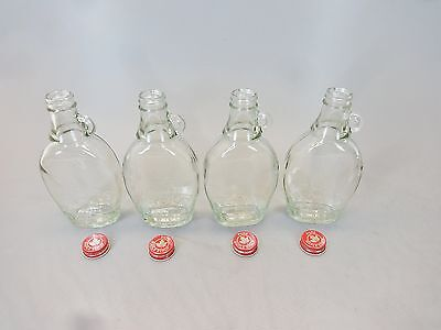 4 Empty 8 oz, Pint Maple Syrup Bottles, Jugs with Handles & Caps - New