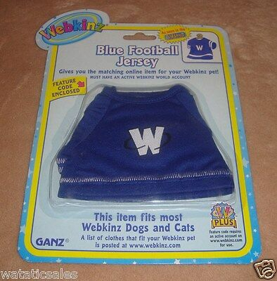 Webkinz Pet Clothing Blue Football Jersey Dogs & Cats Ganz New in package