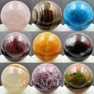 40mm Natural Gemstone Rock Round Ball Crystal Healing Decor Statue Massage Craft