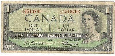 1954 Bank of Canada $1.00 Devil Face