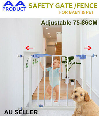DIY 75-86CM Adjustable Baby Child Pet Safety Security Gate Stair Barrier Door