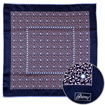 Men's BRIONI Salmon Floral Silk Hand Made Rolled Pocket Square Handkerchief