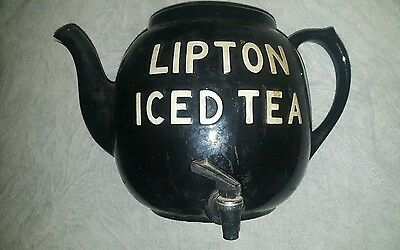 "Old Large Black Lipton Iced Tea Display Teapot 1930's Hall China 16""x10"" No Lid"