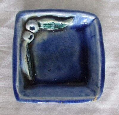 Australian Pottery Signed L Roache Small Square Dish Applied Berries & Leaves