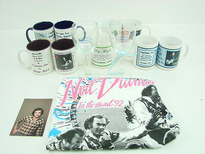 Neil Diamond Commemorative Lot of 13 Collectible Mugs Glasses T Shirt Birthday