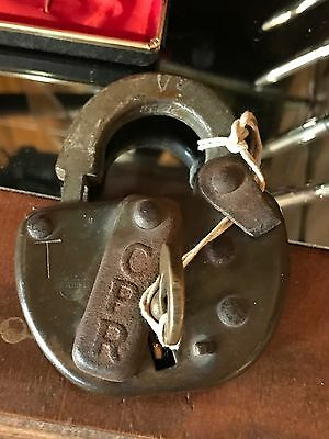 Antique CPR Padlock With Matching CPR Key. Canadian Pacific Railway