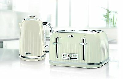 Breville Impressions Kettle and Toaster Set Cream Kettle & 4 Slice Toaster New