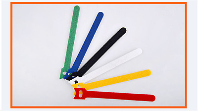 1 Pack of 12 Hook & Loop Magic Cable Ties Reusable 6colour Coded Organiser Cords