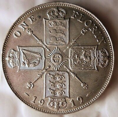 1919 Great Britain Florin - Au/unc White - Free Ship Worldwide - Hv24