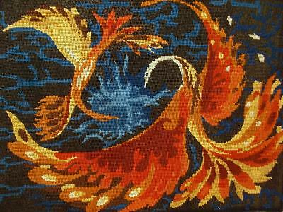 """vintage completed cotton needlepoint 2 Phoenix birds tapestry 19.7""""x14"""""""